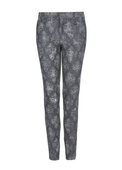 Slim-fit baroque print trousers