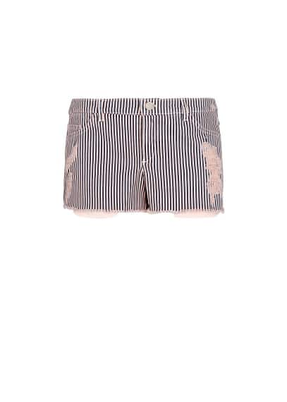 RIPPED STRIPED SHORTS
