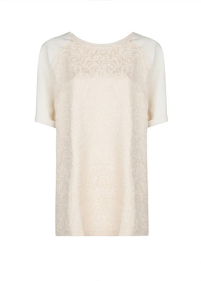 Jacquard short sleeve sweater