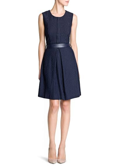 Belt pinstripe dress