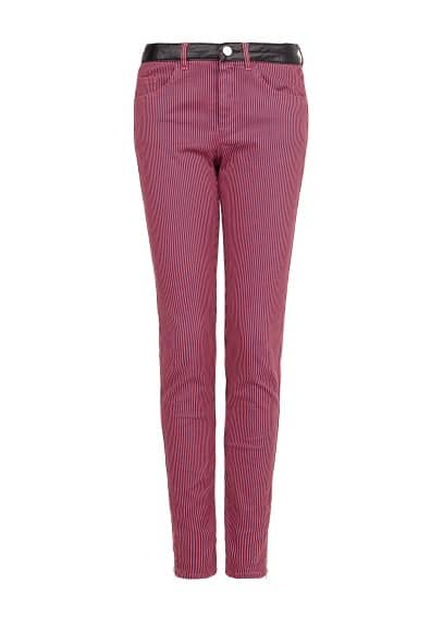 Faux leather appliqué striped trousers