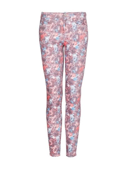 Floral print slim trousers