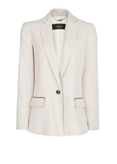 Contrast trim straight-fit blazer