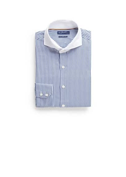 Straight-fit Premium contrasted collar shirt