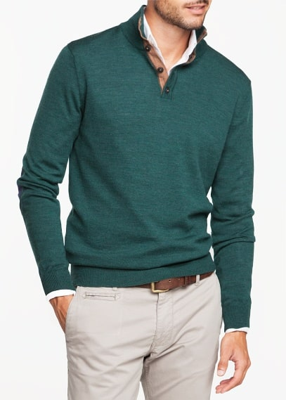 Button-collar wool sweater
