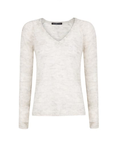 Mohair-blend openwork knit sweater