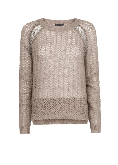 Metallic detailing openwork sweater