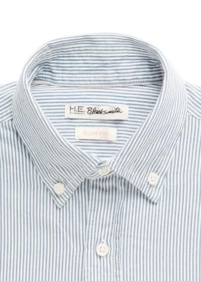Slim-fit striped twill shirt