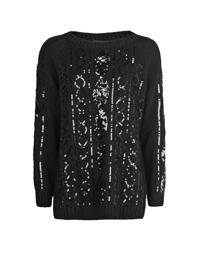 Sequined cable-knit wool-blend sweater