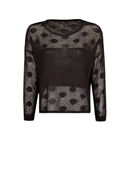 Contrast panel polka-dot sweater