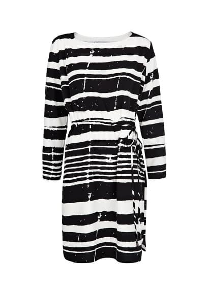 Irregular-stripe satin dress