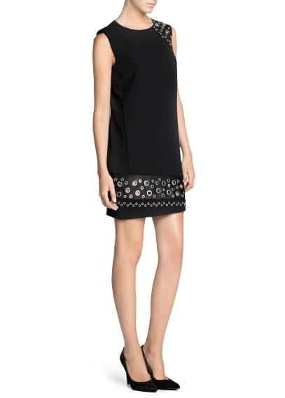 Eyelet appliqué shift dress