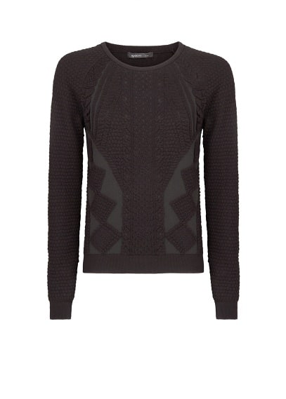 Raglan sleeve jacquard sweater