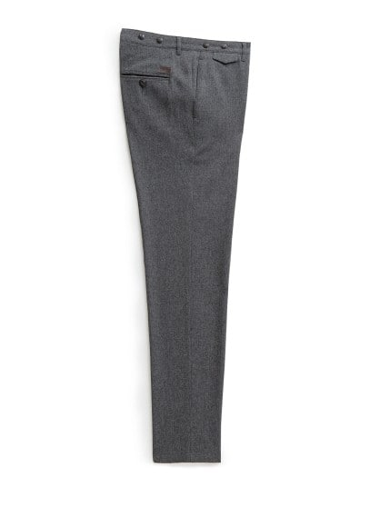 Straight-fit wool-blend herringbone trousers