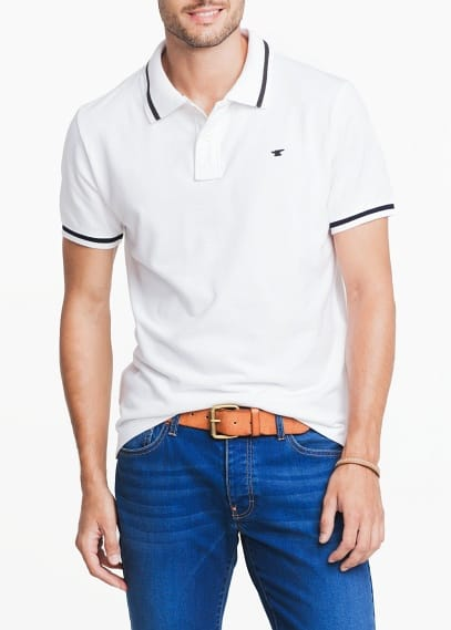 CONTRASTED TRIMMINGS PIQUÉ POLO SHIRT