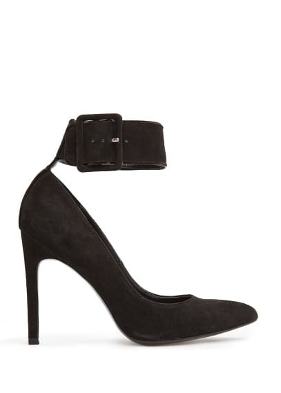 Ankle strap suede stiletto shoes
