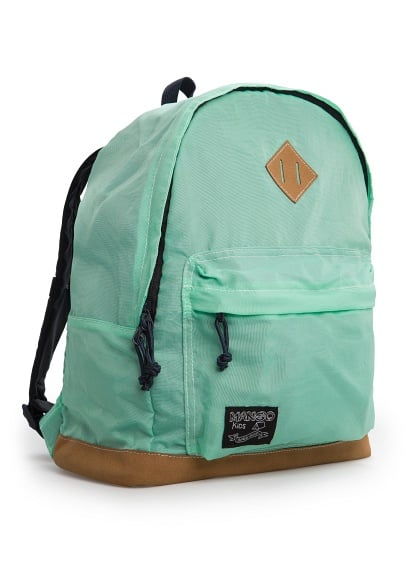 Faux suede panel nylon backpack