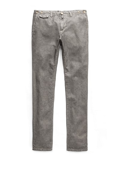 Slim-fit herringbone cotton chinos