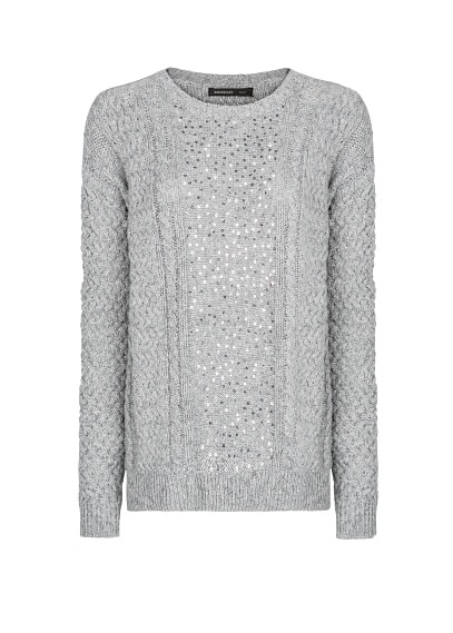 SEQUINED CABLE-KNIT SWEATER