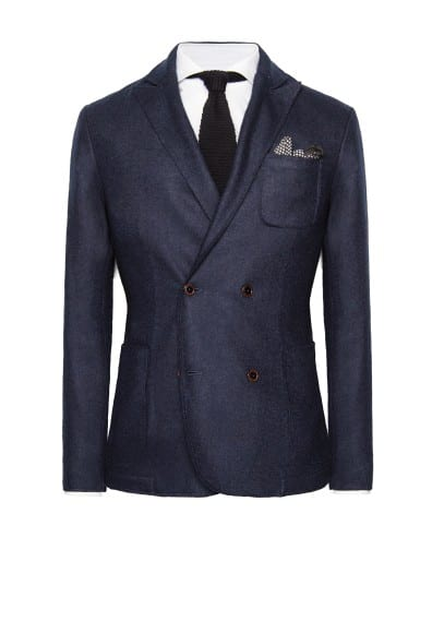 Double-breasted wool-blend blazer