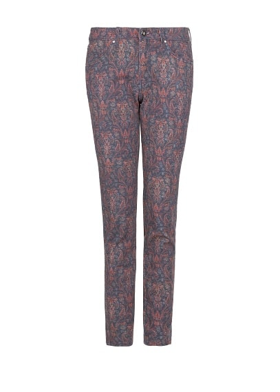 Slim-fit paisley print trousers