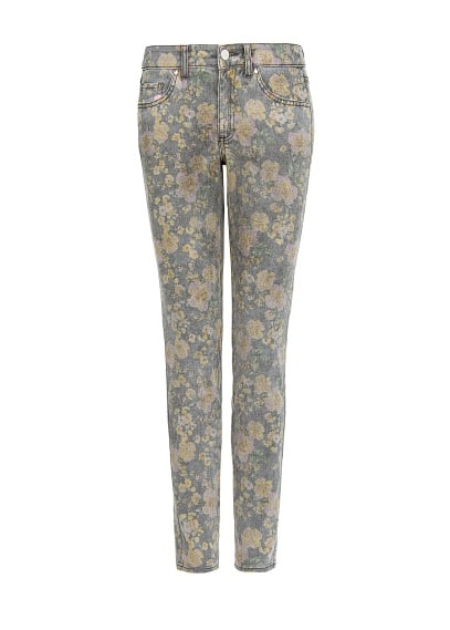 Distressed floral print trousers