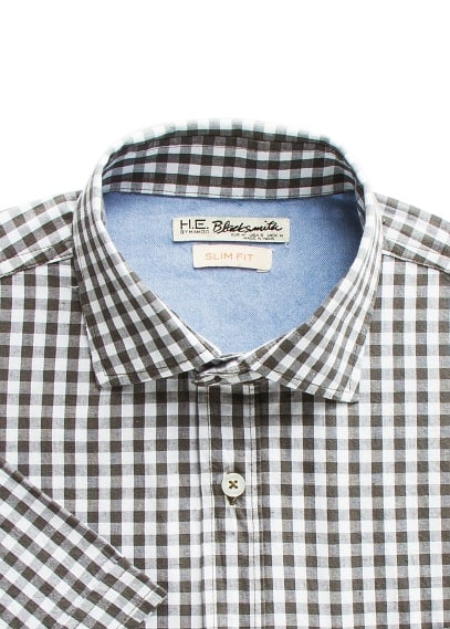 Slim-fit short sleeve gingham shirt