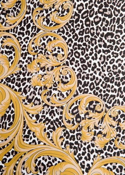 Leopard print satin-finish scarf