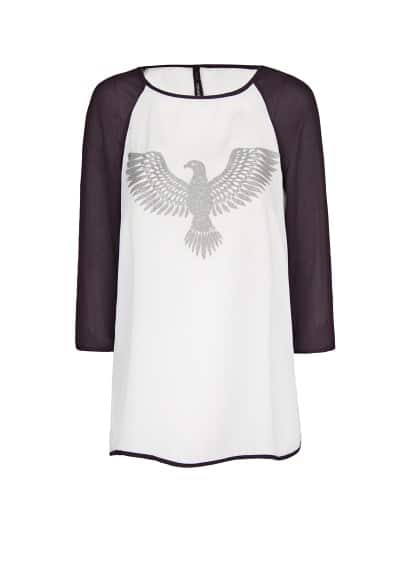 Textured eagle chiffon blouse