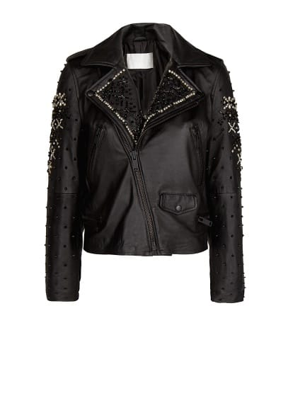 PREMIUM - Beaded leather biker jacket