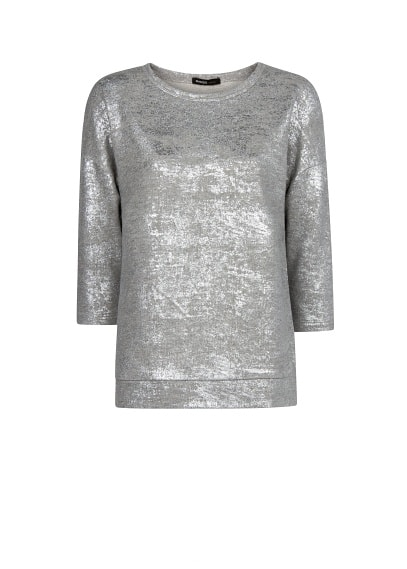 Metallic detail cotton-blend sweatshirt