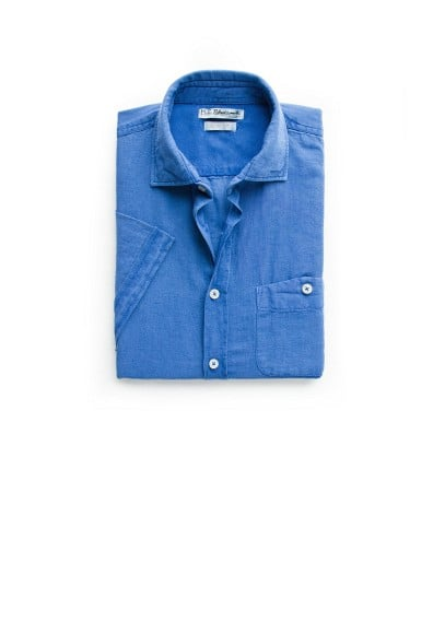 Slim-fit short sleeve linen-blend shirt