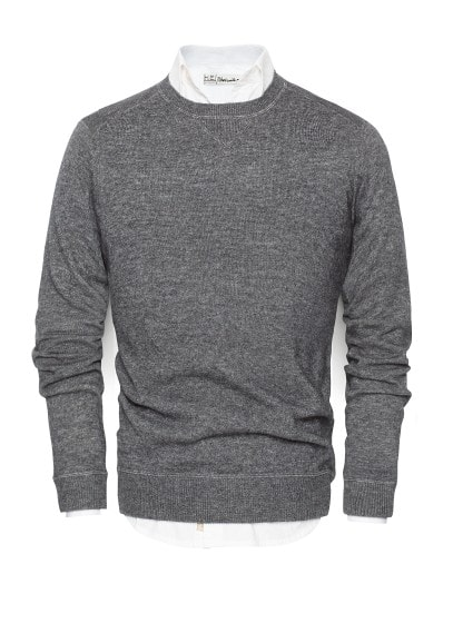 Ribbed panel wool-blend sweater