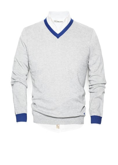 Contrast cotton cashmere-blend sweater