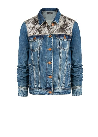 Blouson denim empiècements serpent