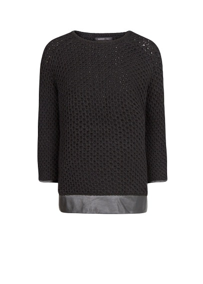 Faux leather wool sweater