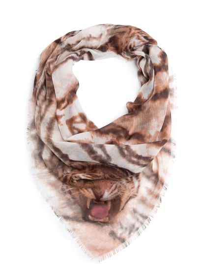 Tiger print frayed scarf