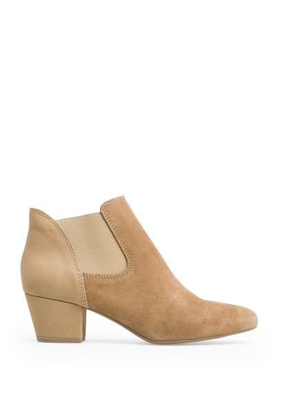 Leather elastic ankle boot