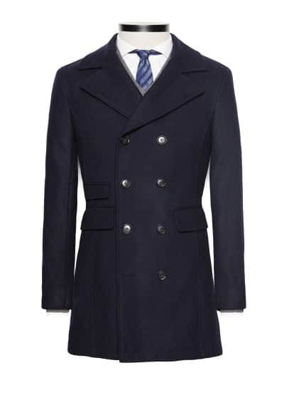 Premium double-breasted wool-blend coat