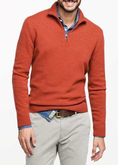 Suede elbow patch wool-blend sweater