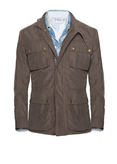 Trimmed cotton-blend field jacket
