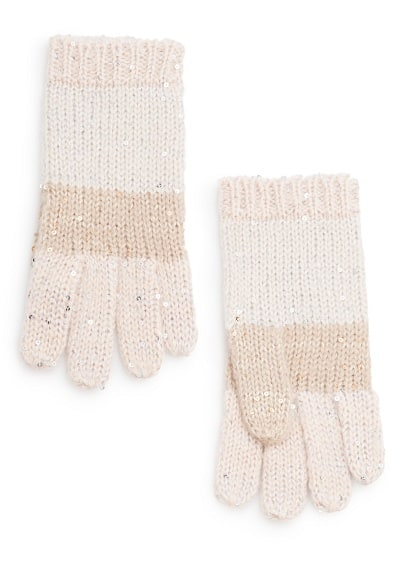 Sequined striped gloves