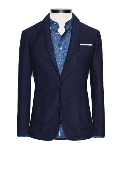 Denim effect cotton-blend blazer