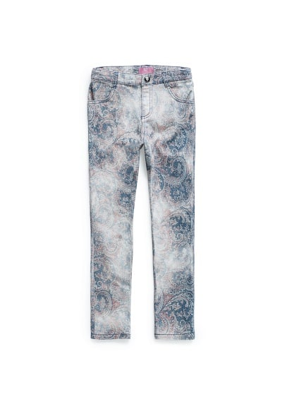 Paisley print denim trousers
