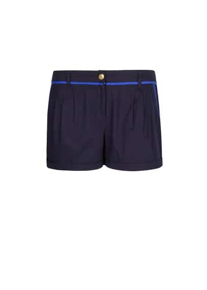 Contrasted trimming cotton shorts