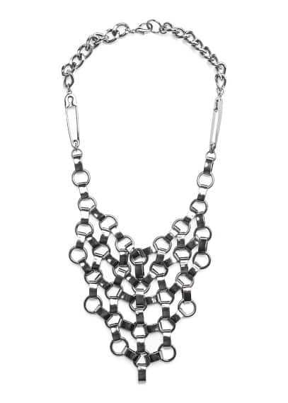 Safety pin detail bib necklace