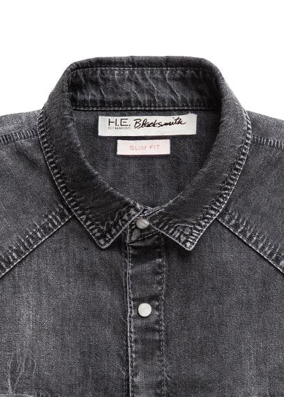 Slim-fit grey denim shirt