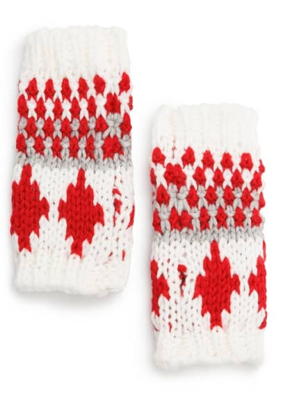 Knitted fair isle pattern fingerless gloves