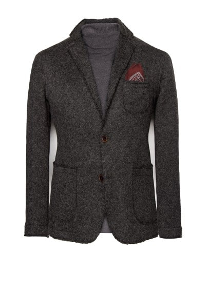 Wool-blend unstructured blazer