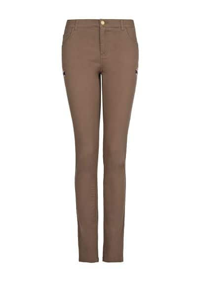 Ethnic embroidery slim-fit trousers